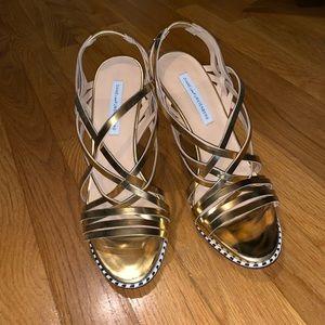 DVF Gold Strappy Heels